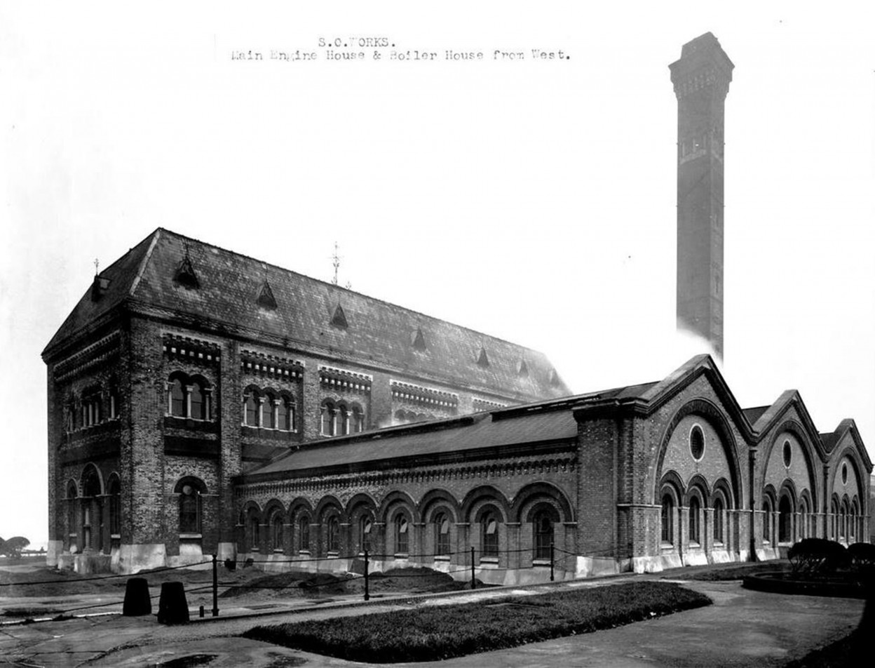 Crossness - View of Main Engine House and Boiler House from Terrace Garden